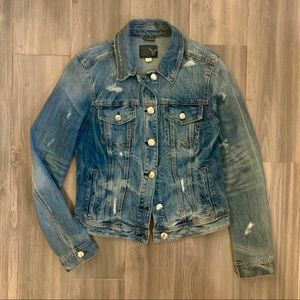 Distressed Denim Jacket by American Eagle (Size L)
